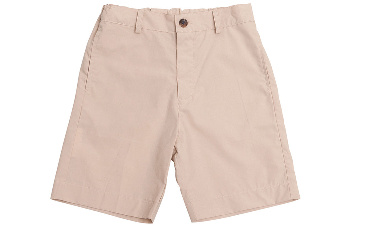 boys' alex flat front shorts khaki cotton poplin