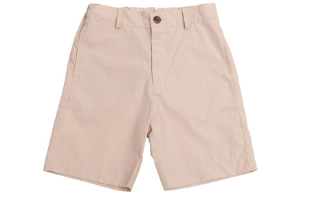 alex flat front shorts khaki cotton poplin