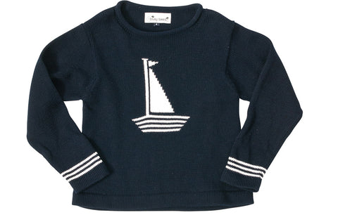 sailboat sweater navy white