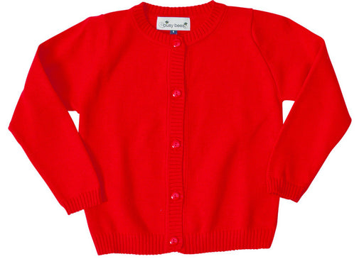infant and girls' classic cotton cardigan red