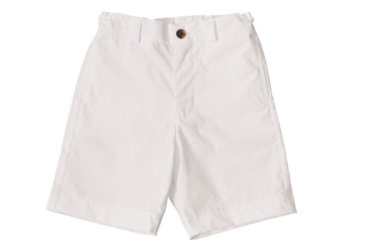 alex flat front shorts white cotton poplin