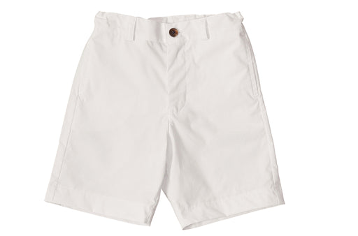 alex boys flat front shorts white cotton poplin
