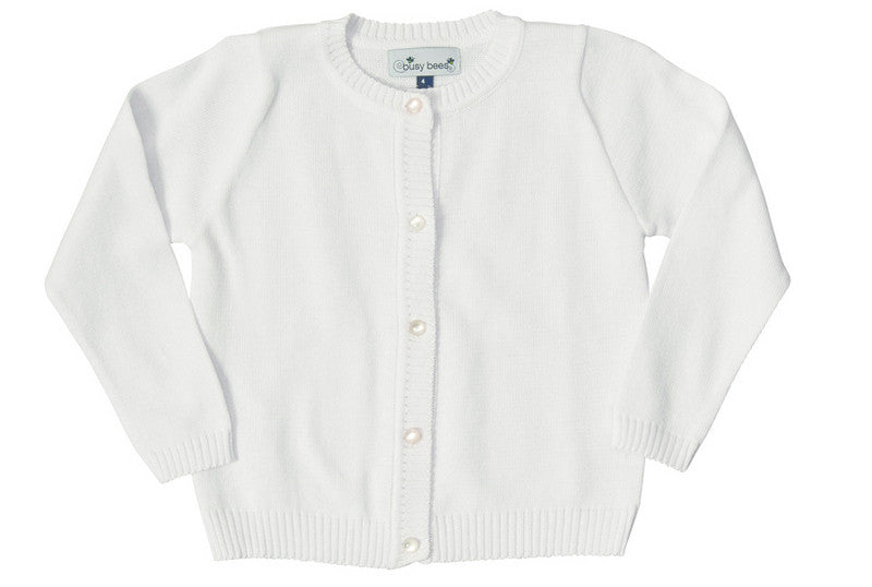 infant and girls' classic cotton cardigan white