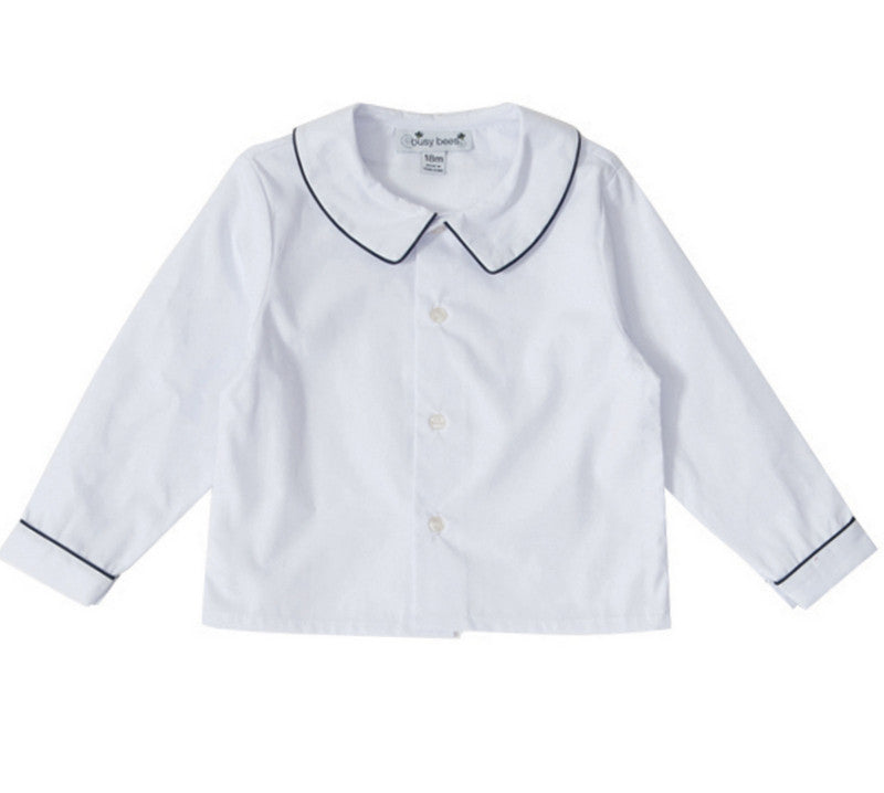 peter pan collar shirt white with navy piping