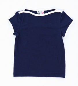 nina cap sleeve tee navy knit w/white piping