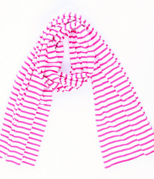 t shirt scarf fuchsia stripe knit
