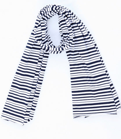 t shirt scarf multi navy stripe knit