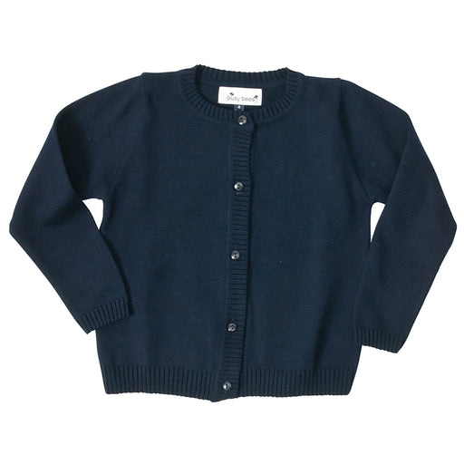 infant and girls' classic cotton cardigan navy