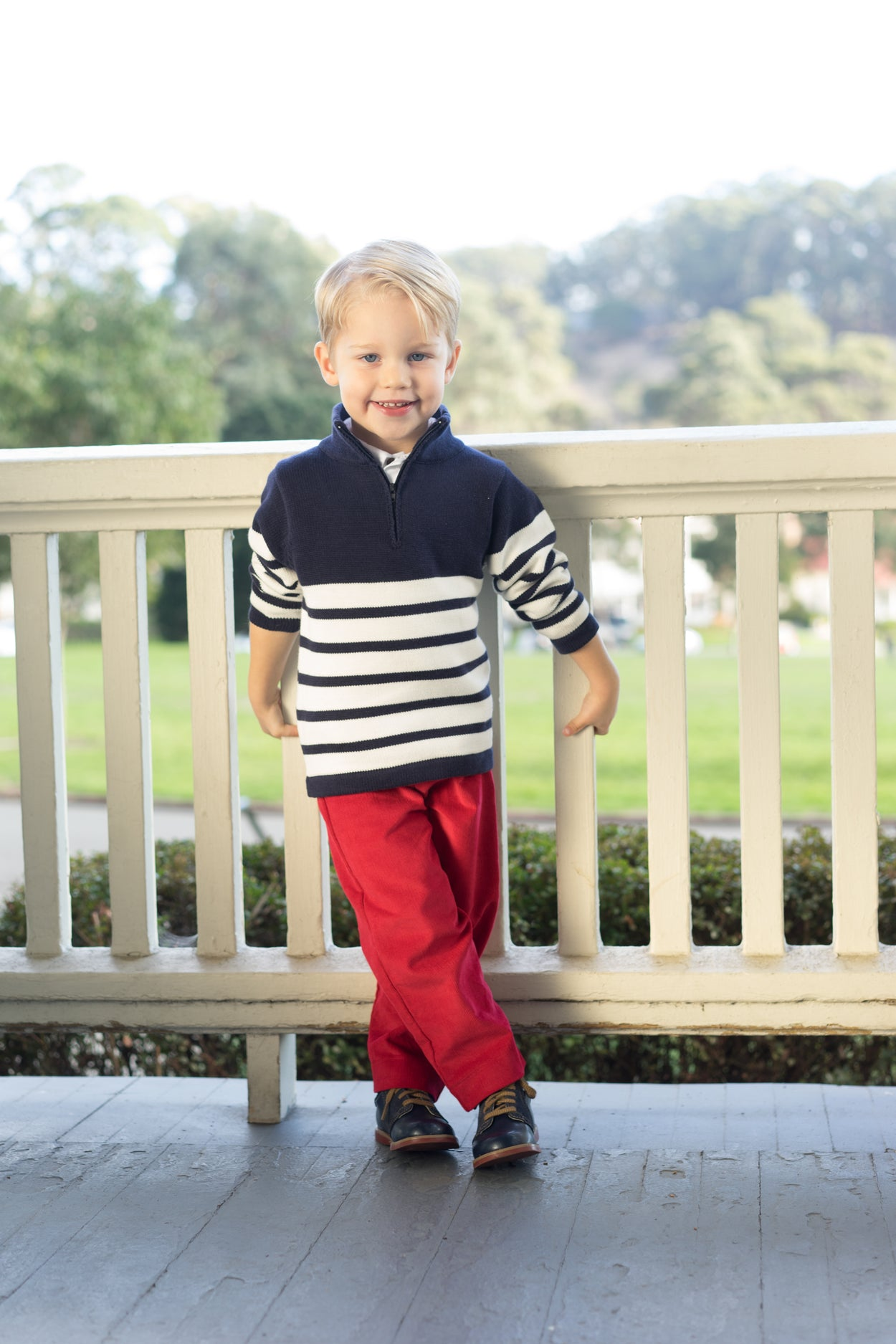 boys' cotton zip sweater breton navy white stripe