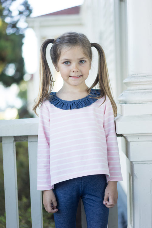julia ruffle knit top pink stripe