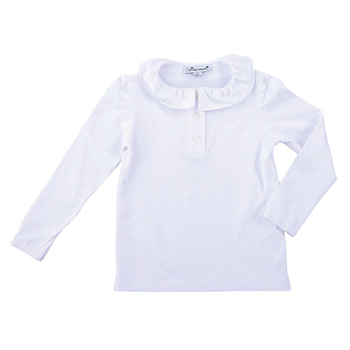 eliza girls ruffle collar long sleeve polo white knit