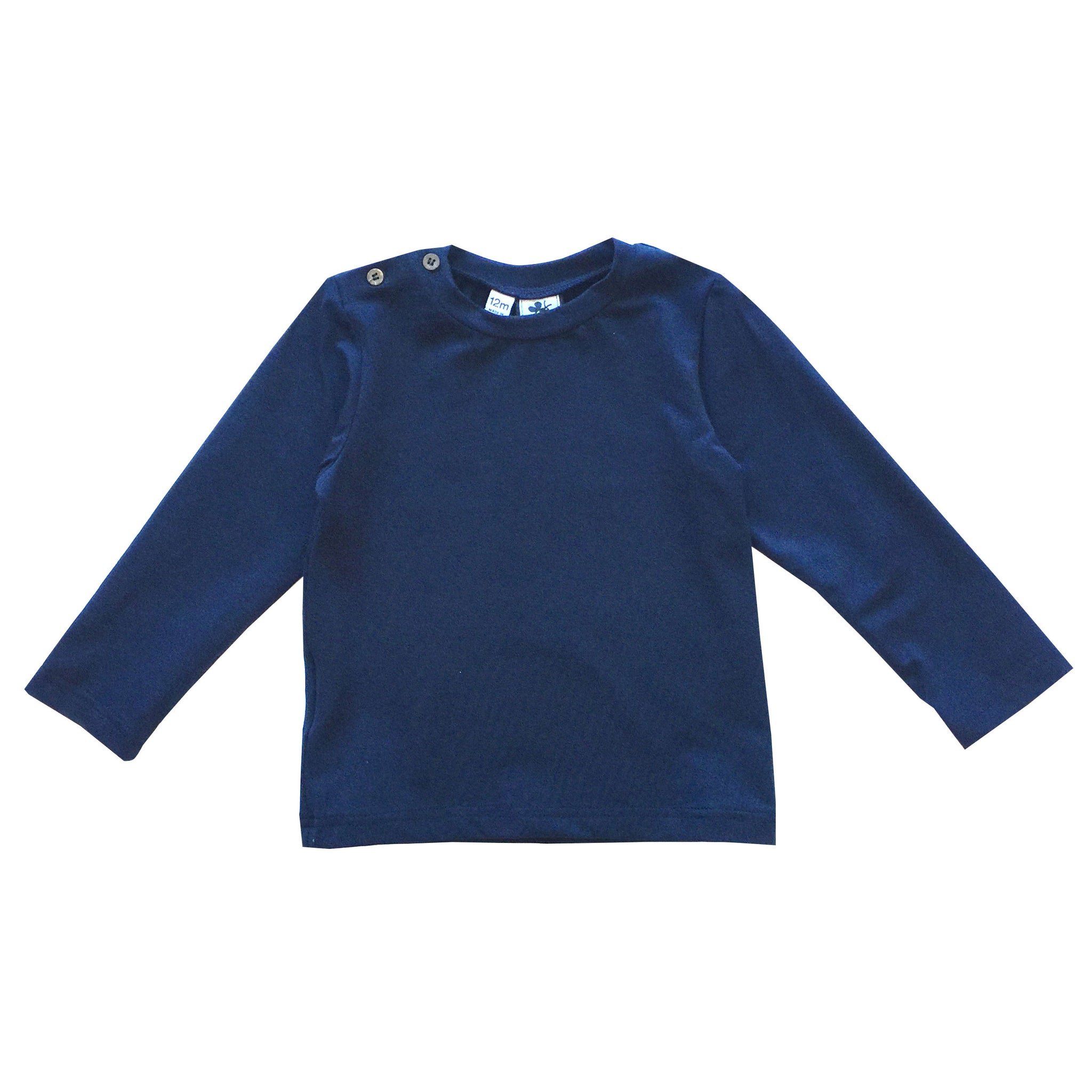 henry button shoulder long sleeve tee navy knit