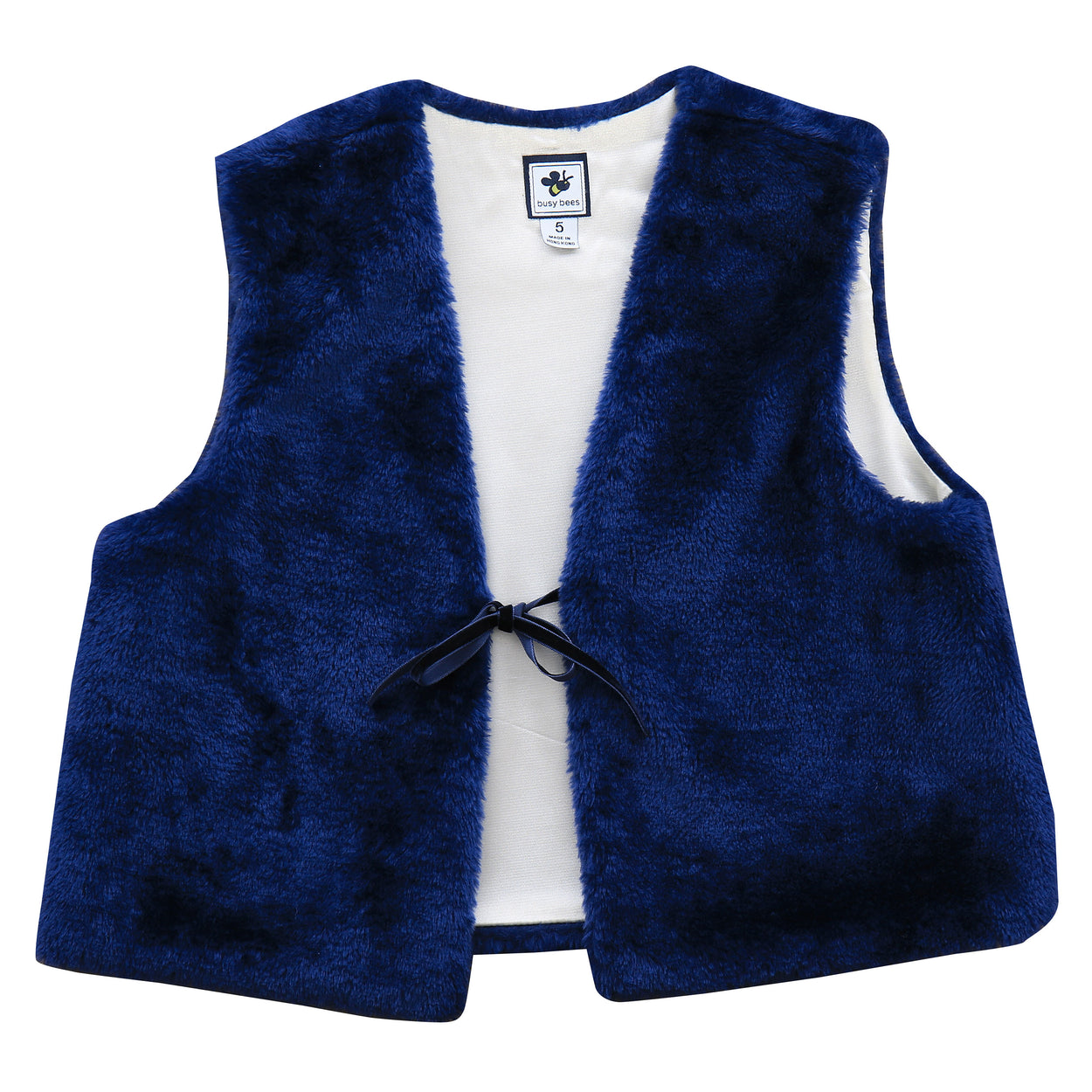 ainsley girls faux fur vest navy