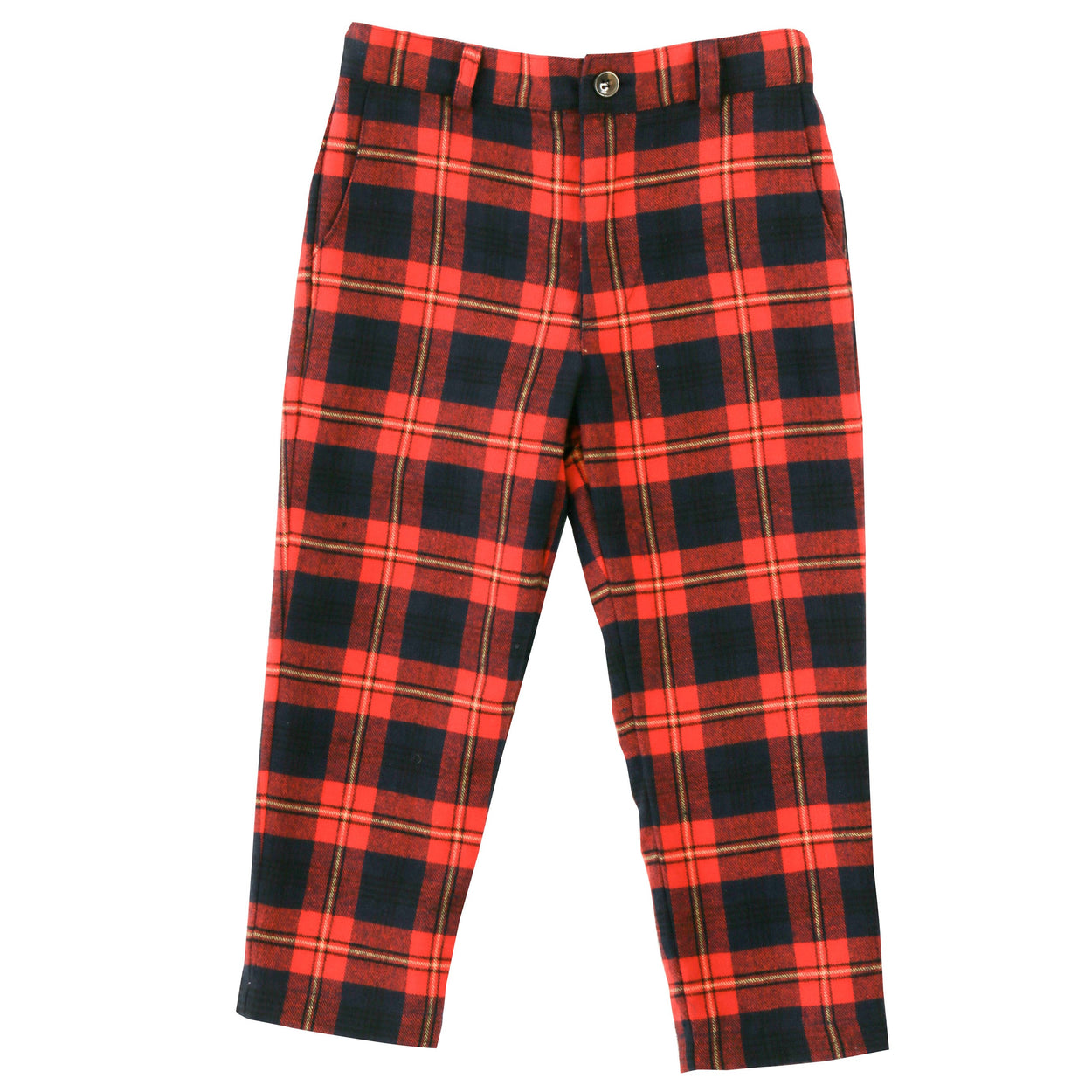 alex boys flat front pant red yellow plaid