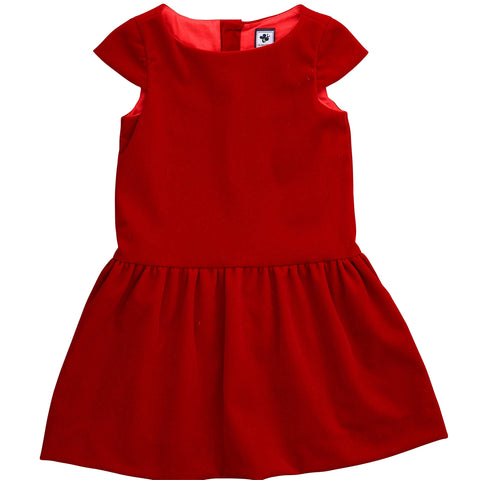alexa drop waist dress red velveteen