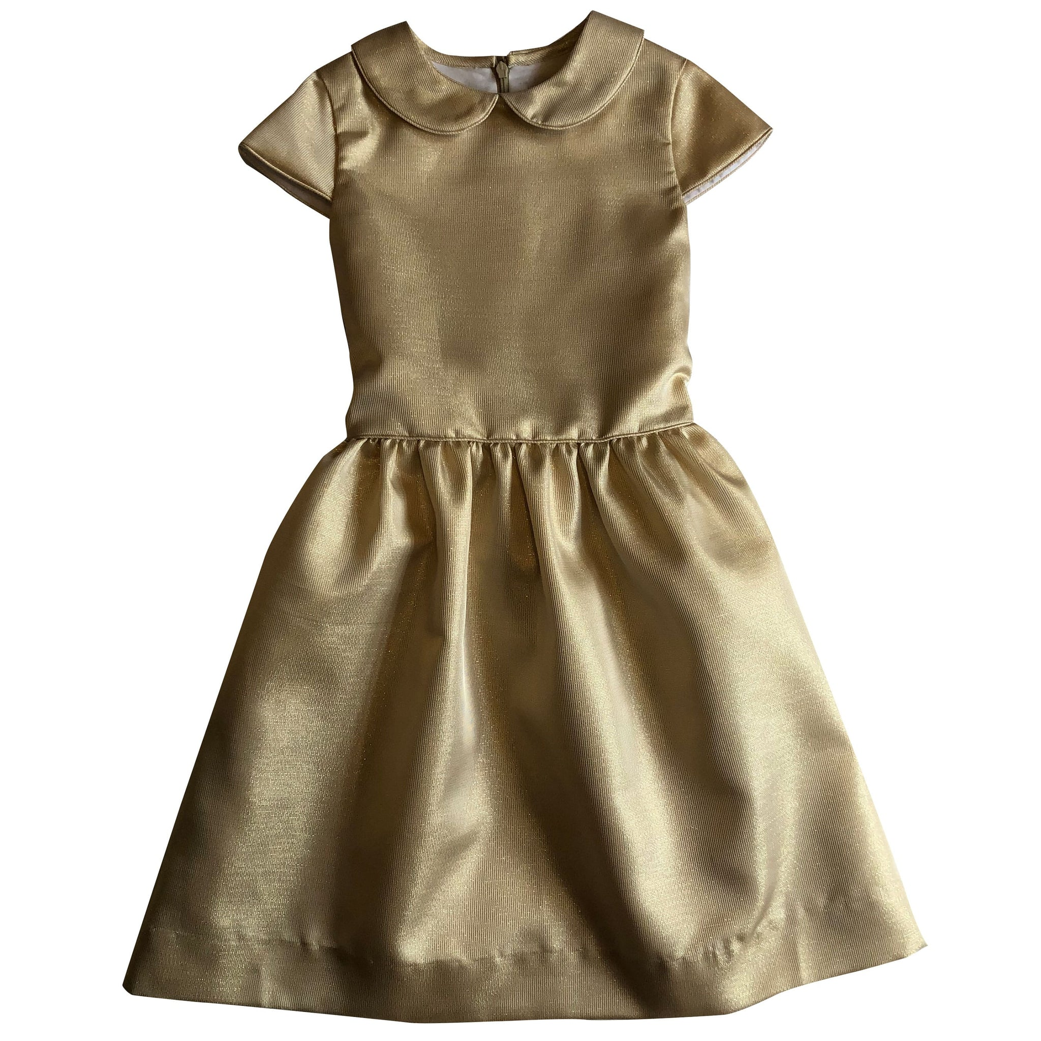 anna peter pan collar dress gold shimmer