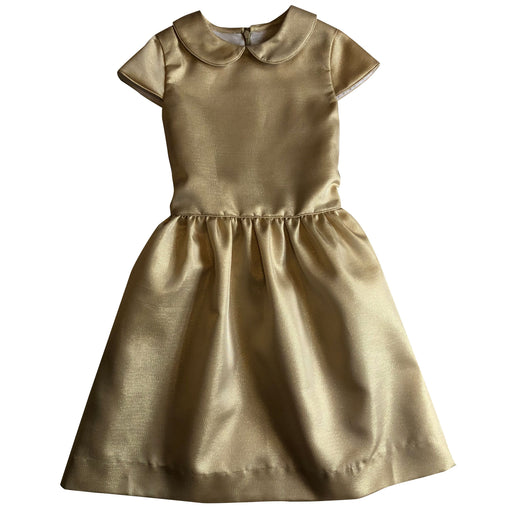 anna girls peter pan collar dress gold shimmer
