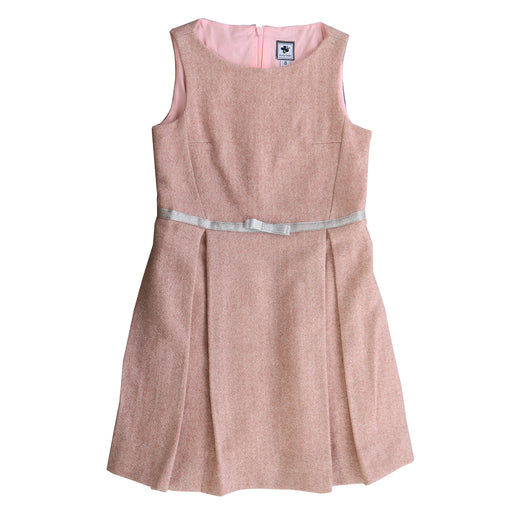 aylah sleeveless box pleat dress ballerina pink tweed
