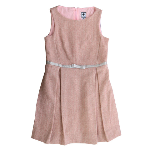 aylah box pleat sleeveless dress ballerina pink tweed