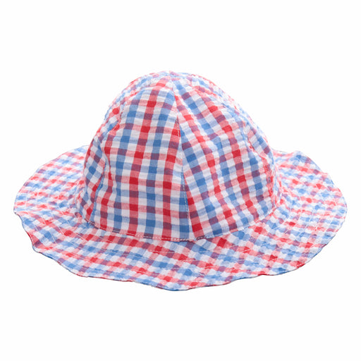 Infant sun hat red white blue seersucker check