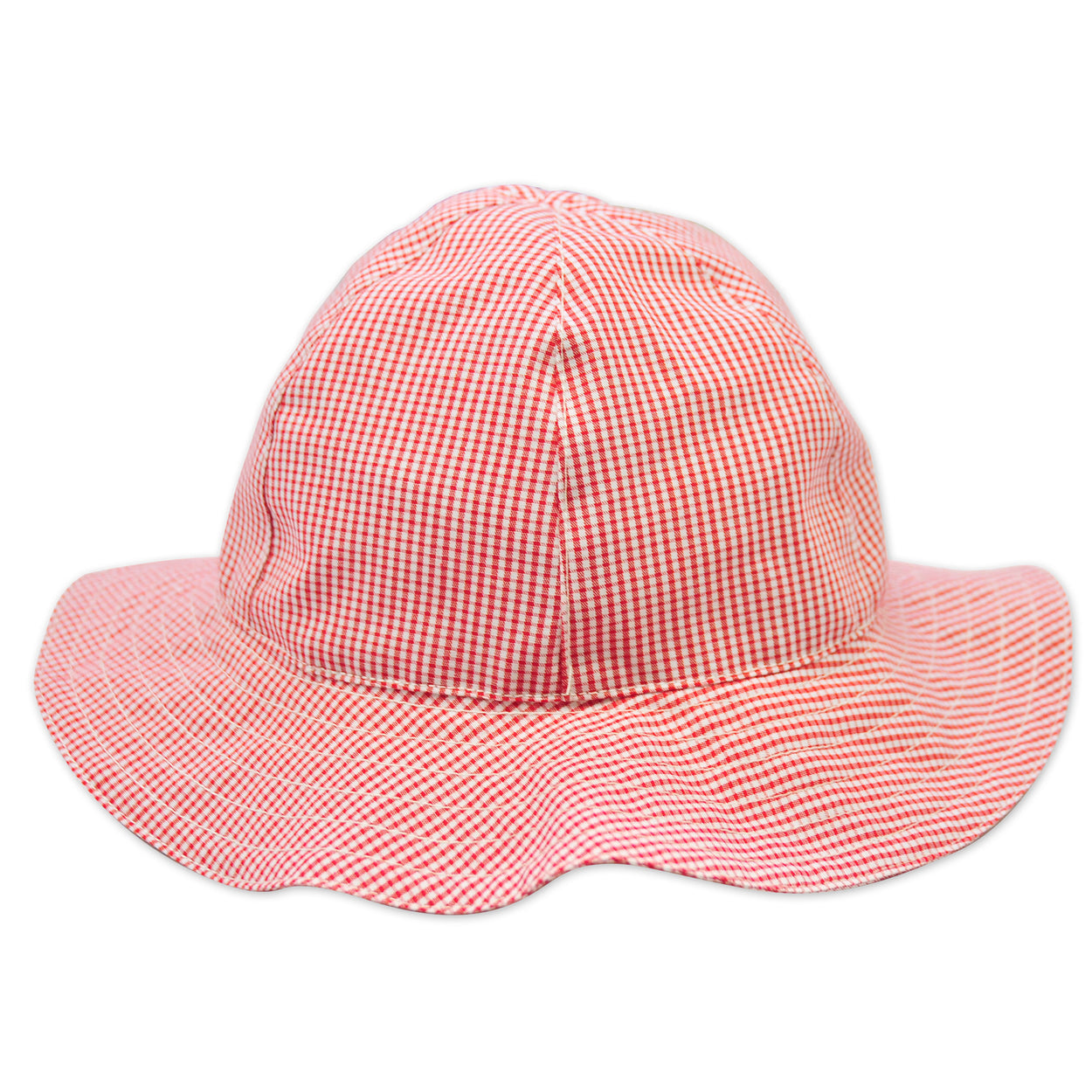 baby sun hat red mini check