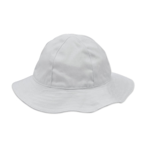 baby sun hat white cotton twill