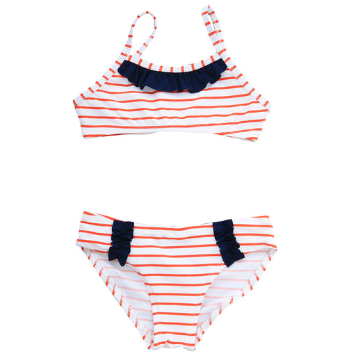 ruffle bikini red white stripe