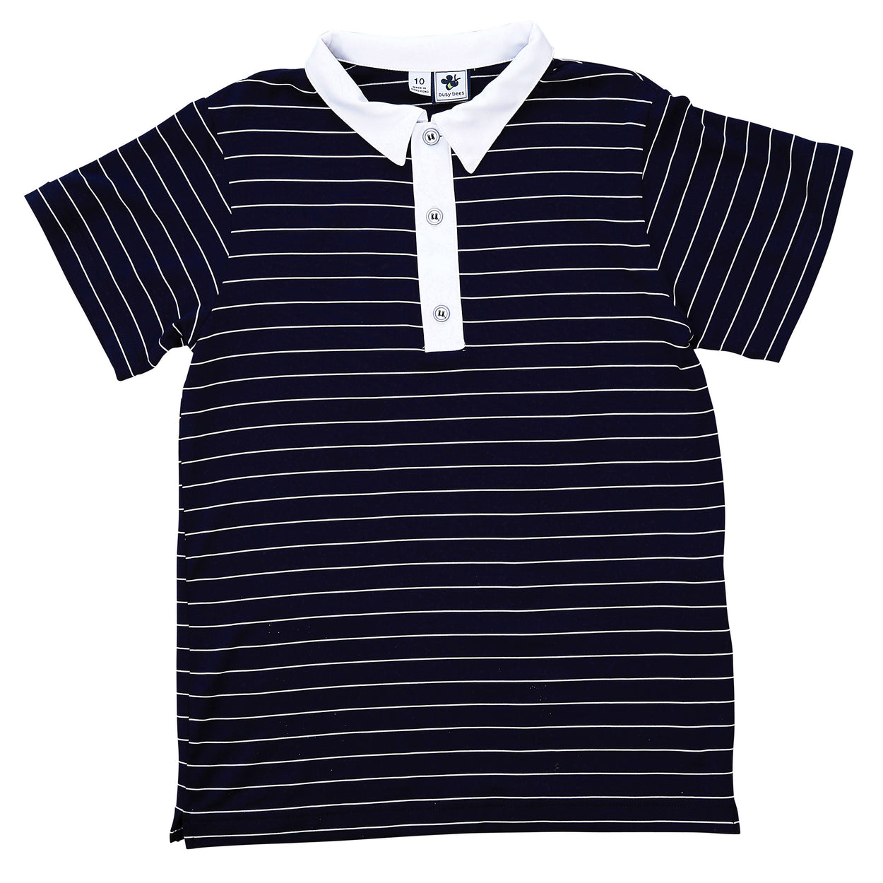 boys performance polo navy white mini stripe