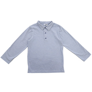 busy bees long sleeve polo mini blue chambray stripe