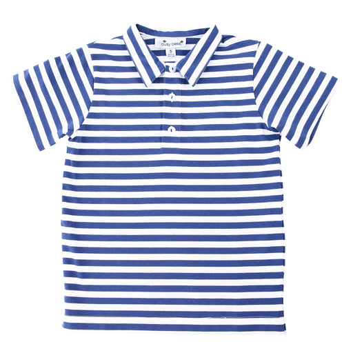 busy bees boys polo varsity blue stripe knit
