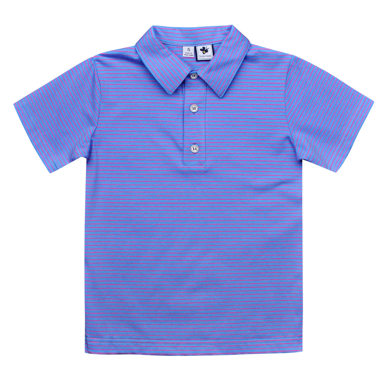 busy bees boys short sleeve polo periwinkle stripe