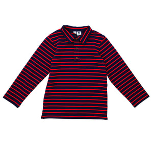 navy with red stripe knit