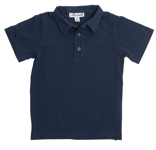 busy bees boys polo navy knit