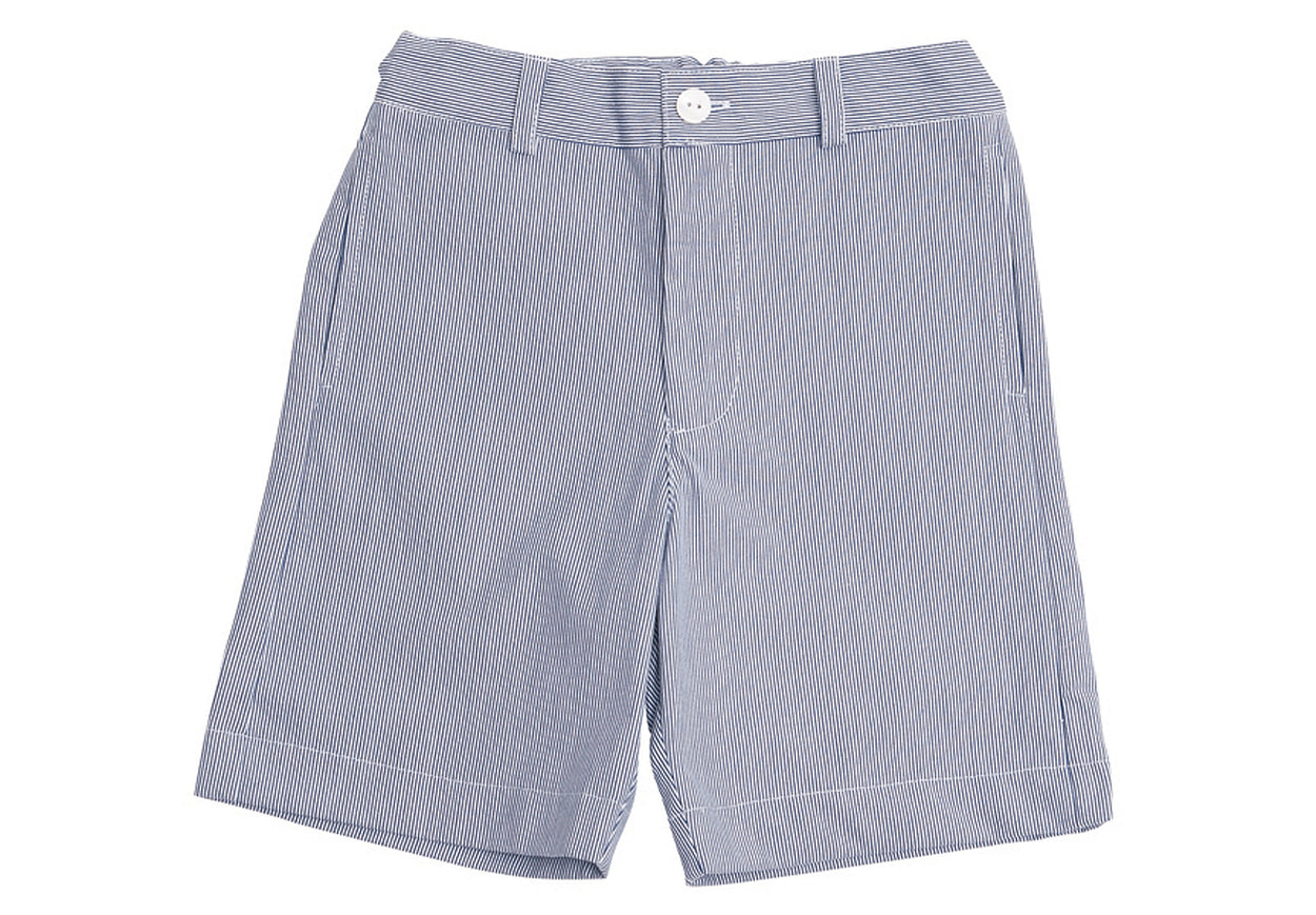 alex boys flat front shorts navy seersucker stripe