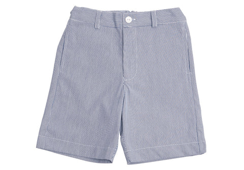 alex flat front shorts navy seersucker stripe