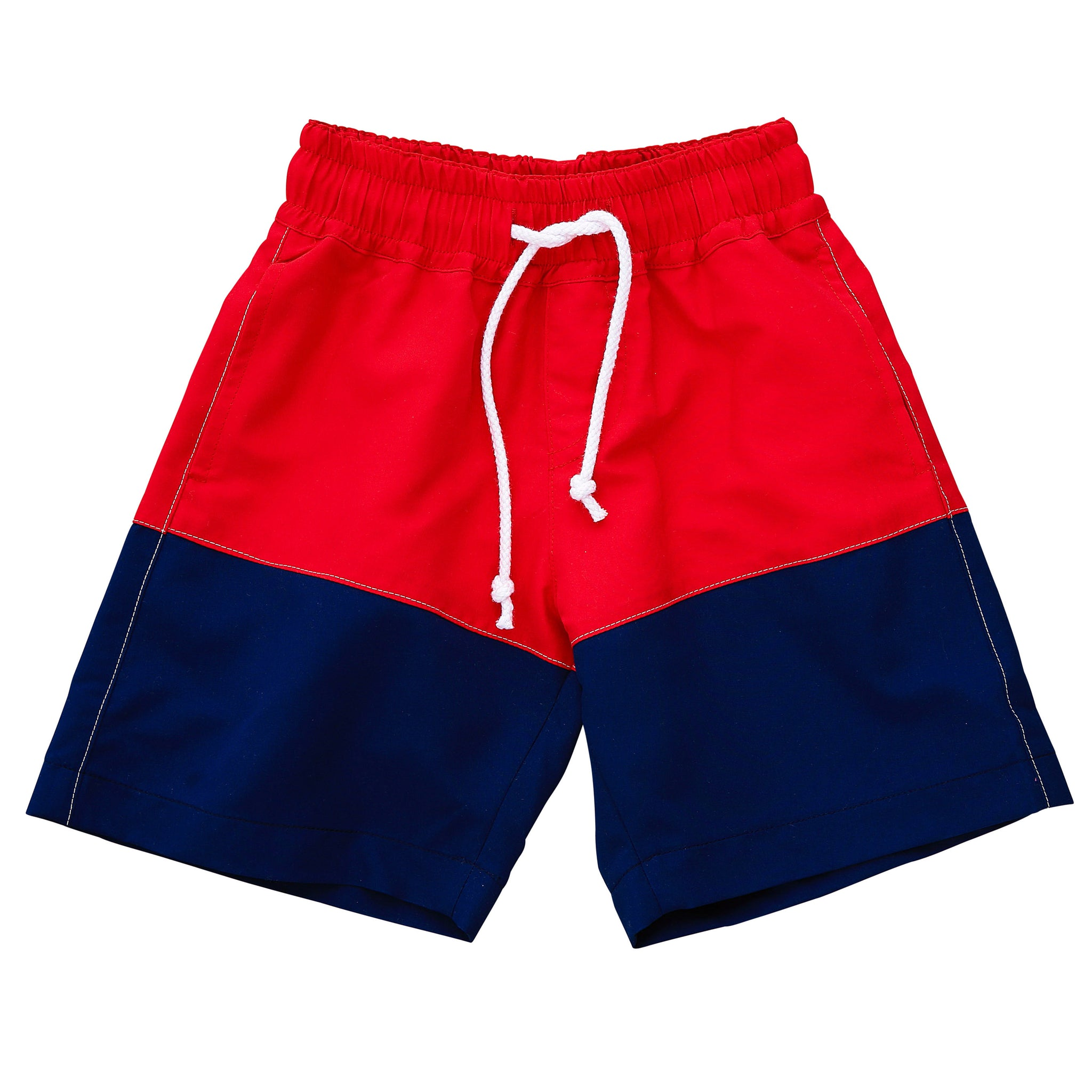 chris board shorts red navy color block