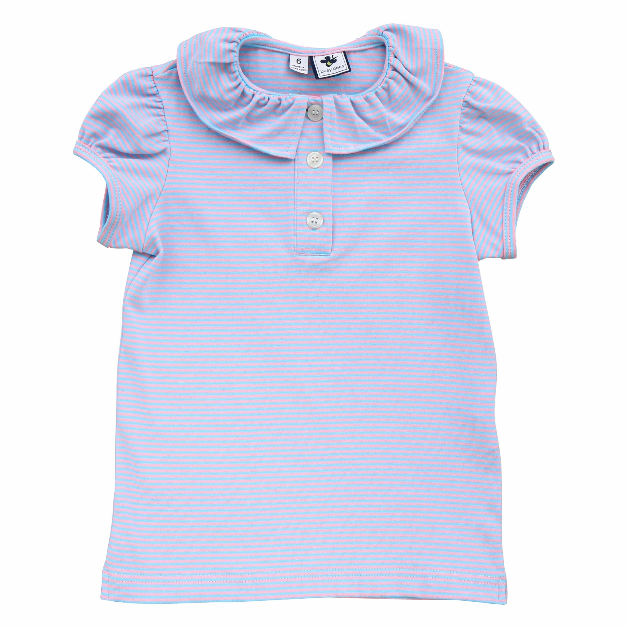 eliza ruffle neck polo blue pink stripe