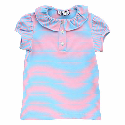 eliza ruffle collar polo blue pink stripe knit