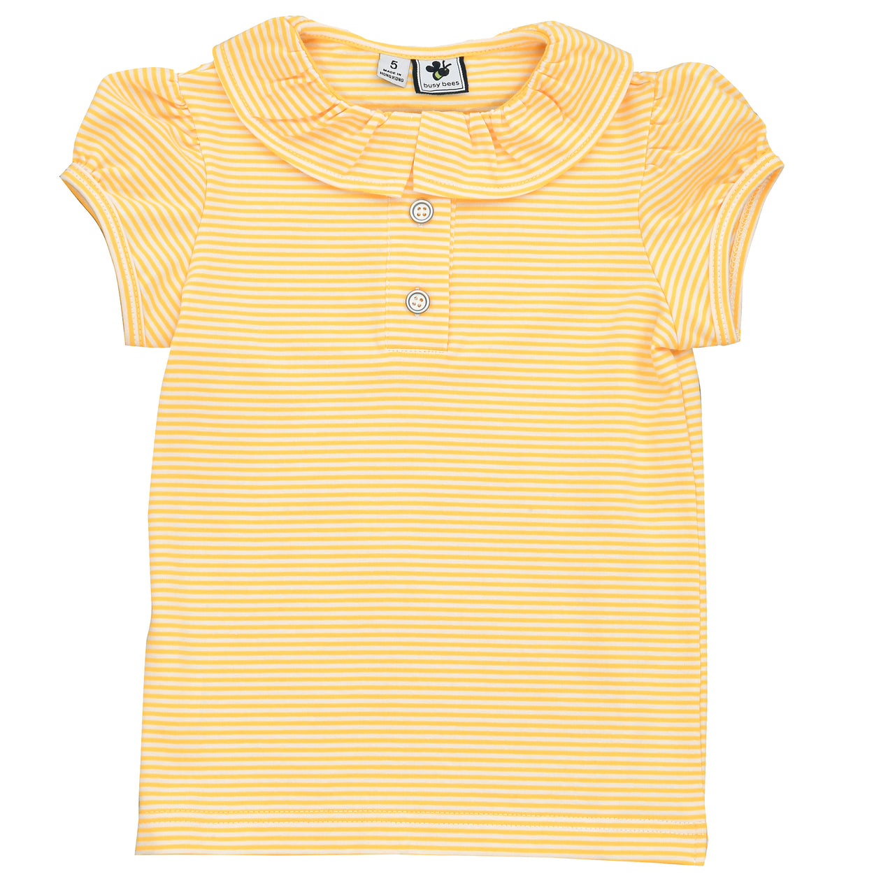 eliza ruffle polo mini yellow stripe