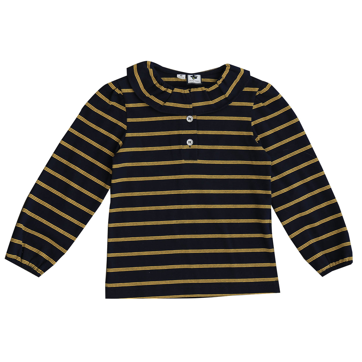 eliza ruffle polo navy yellow stripe