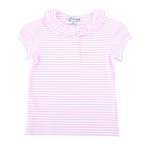 eliza ruffle polo light pink white stripe knit