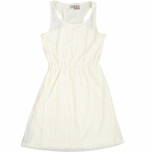 girls' emerson raceback knit dress white stretch lace