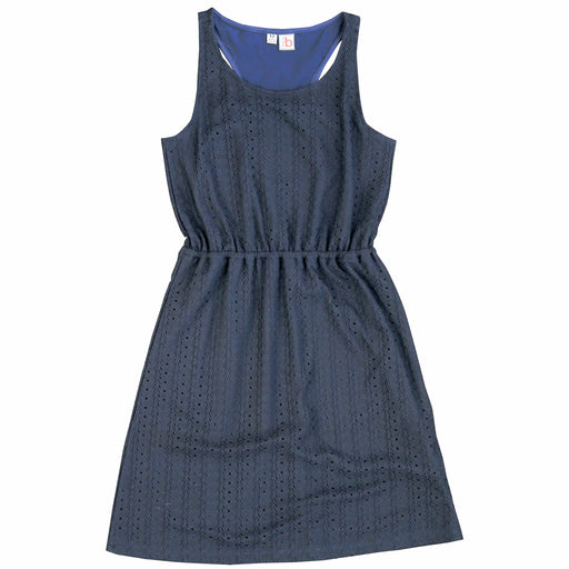girls' emerson racerback knit dress navy stretch lace