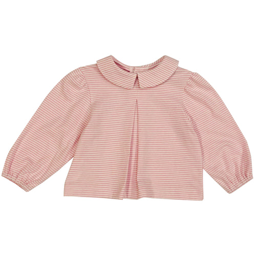 eva point collar blouse light pink stripe