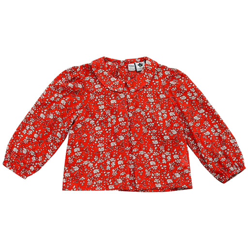 eva girls point collar blouse red floral