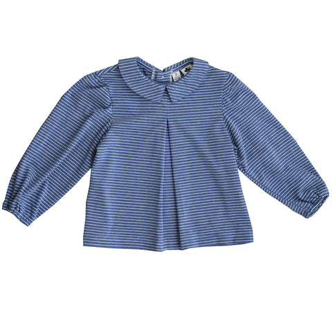 eva peter pan collar blouse mini blue stripe knit