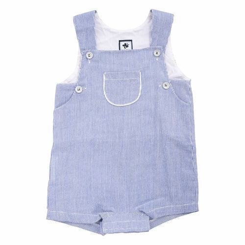 george romper navy seersucker stripe