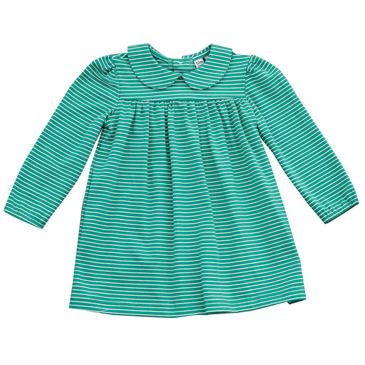 ginny girls peter pan collar dress green stripe