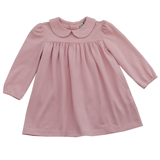 ginny girls peter pan collar girls dress pink blue stripe