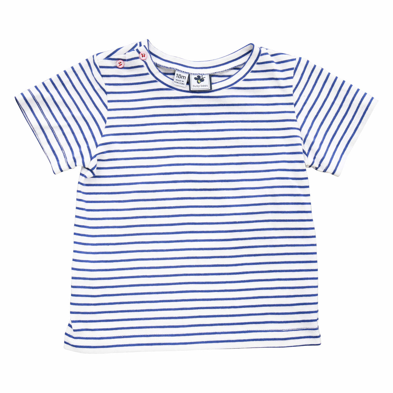 henry button shoulder tee blue stripe